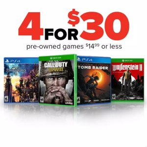 4 for $30Pre-Owned Games $14.99 and Under