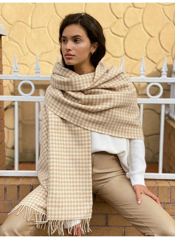 宽条纹羊毛围巾