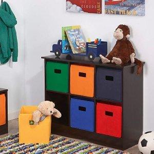 RiverRidge 6 Bin Storage Cabinet for Kids, Espresso