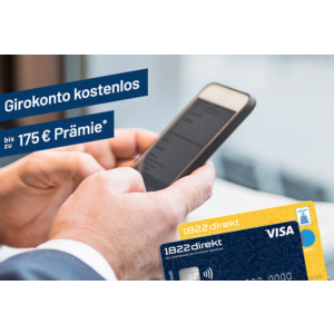 Visa信用卡第一年免费网上银行1822direkt免费Girokonto开户送€75+每次推荐可得€100