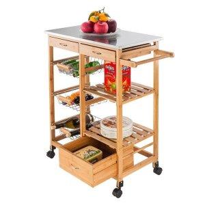 Carson Carrington 木质厨房收纳岛柜推车 不锈钢台面