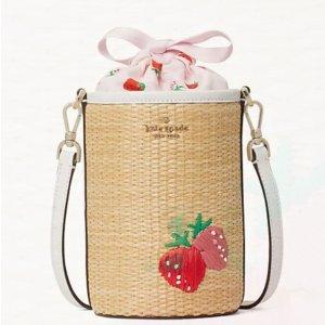 kate spade 惊喜特卖会 草莓编织水桶包 夏季必备