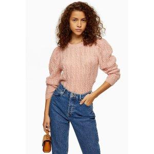 Topshop粉色圆领毛衣
