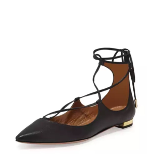 Up to 70% OffAquazzura Lace-Up Flats @ Neiman Marcus