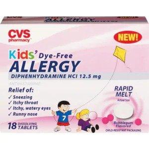 CVS HealthKids Dye-Free Allergy Dissolving Tablets, 18 CT