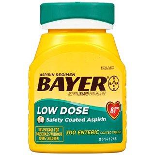 $7.25Bayer Aspirin Regimen, Low Dose (81 mg), Enteric Coated, 300 Count