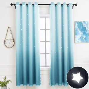 Hughapy Star Curtains Ombre Curtain for Kids Girls Bedroom - Tulle Overlay Star Cut Out Curtains Mix and Match Curtains for Living Room, Room Darkening Window Curtains, 1 Panel - (52W x 63L, Blue)