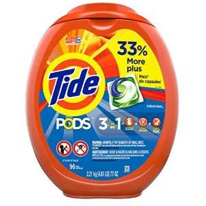 $10.72收96个洗衣球 仅限Prime会员白菜价:Tide 多款果冻洗衣球、洗衣液等超值促销