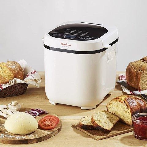 6.8折 €74.99收 12个自动程序Moulinex 面包机热促 自制面包安心美味 附带食谱