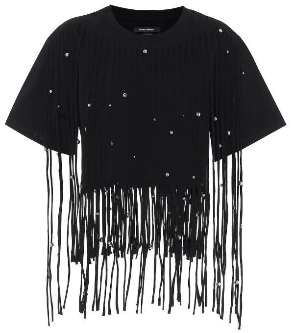 黑色流苏T恤
