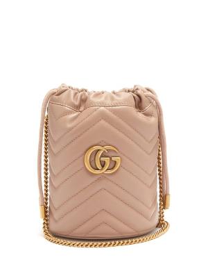 性价比高仅¥7100+直邮中国Gucci 新款GG Marmont奶茶色小水桶