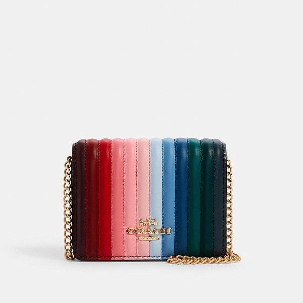 woc彩虹绗缝链条包