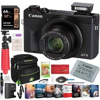 Canon PowerShot G7 X Mark III 20.1MP 4K Digital Camera with 4.2X Optical Zoom Lens 24-100mm f/1.8-2.8 Black 3637C001 Bundle with Deco Gear Travel Case + 64GB Card + Compact Tripod Accessory Kit