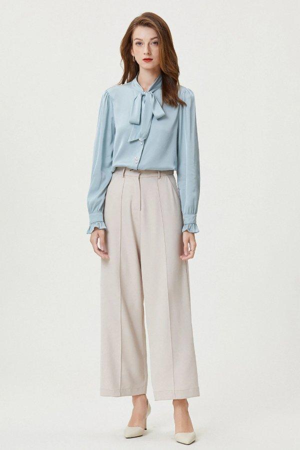雾霾蓝珍珠系带真丝衬衫