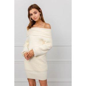 J.INGDelilah White Off-the-Shoulder Knit Dress