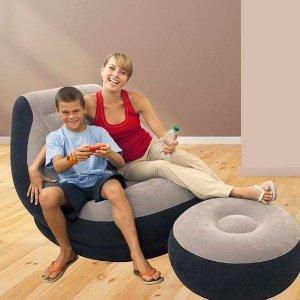 $24.99(原价$57) 收2件套Intex 充气沙发+脚凳套装 搬家星人必备休闲神器