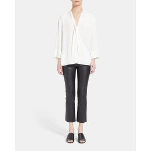 TheorySilk Relaxed Wrap Long-Sleeve Top