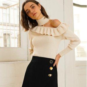 低至5折 $45收明黄色短裙Pixie Market 折扣区美衣大促 优雅又时髦