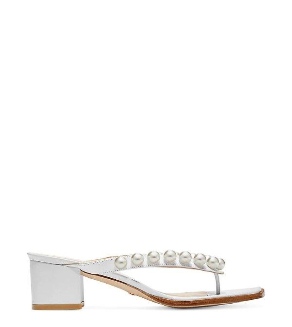 GOLDIE 50 珍珠夹脚凉鞋
