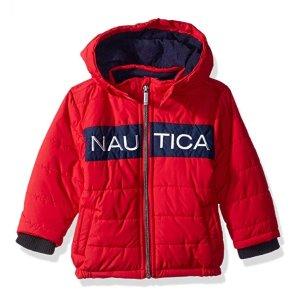 低至$12.41(原价$37.17)Nautica 婴儿连帽毛绒外套、礼服4件套