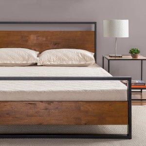 史低价:Zinus Suzanne 实木靠背铁架床 King尺寸 带排骨架