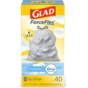 Glad ForceFlex Tall Kitchen Drawstring Trash Bags, Fresh Clean, 13 Gal, 40 Ct