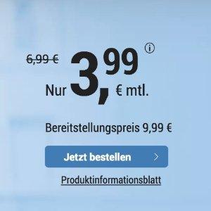 送1GB流量 代号入网送10欧明早截止 包月电话/短信+2GB上网+欧盟漫游 月租仅€3.99