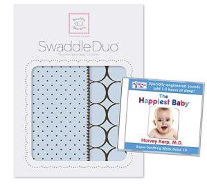 $12.03(原价$44.95)SwaddleDesigns 2件套透气棉毛毯 + 快乐宝贝助婴儿睡眠白噪声CD