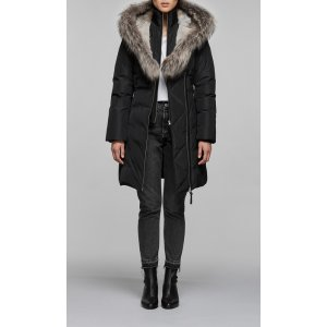 Mackagedown coat with silver fox fur trimmed collar & hood