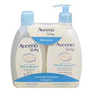 Aveeno Baby Gentle Moisturizing Daily Care Set, Natural Oat Extract, Natural Colloidal Oatmeal, 2 Items @ Amazon