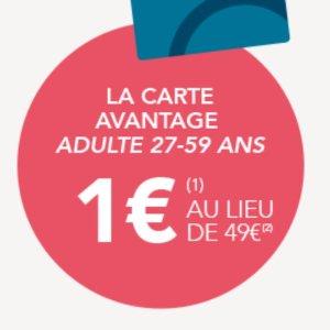 一年期优惠卡 仅€1(原价€49)限今天:OUI.sncf 大羊毛 购成人乘车优惠卡 享全年5折起超值票