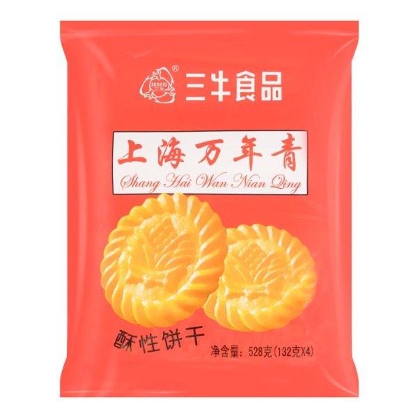 三牛食品 上海万年青酥性饼干 4包入 528g
