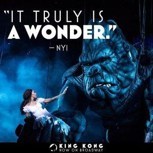 $61起 超逼真还原巨型金刚纽约百老汇最新音乐剧《金刚 King Kong》门票