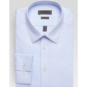 Calvin KleinLight Blue Check Slim Fit Non-Iron Dress Shirt