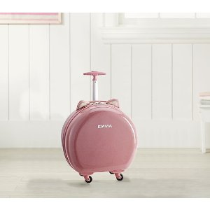 Pottery Barn KidsMackenzie Critter Pink Sparkle Glitter Round Hard Sided Luggage