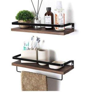 $15.99SODUKU Floating Shelves Wall Mounted Storage Shelves for Kitchen, Bathroom,Set of 2 Brown