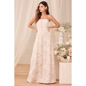 LULUSHold My Heart Forever White Embroidered Strapless Maxi Dress