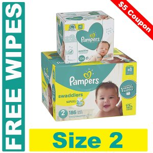Free Wipes + $5 Off Select Pampers Diapers @ Amazon.com