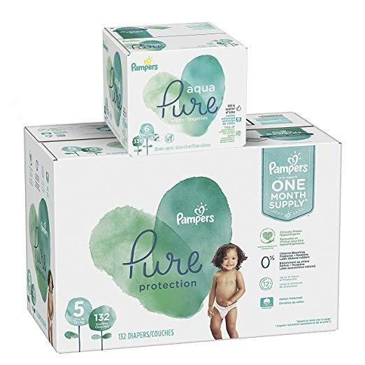 Pure Protection  5 号尿不湿 132 片+Aqua Pure 宝宝湿巾 336 片