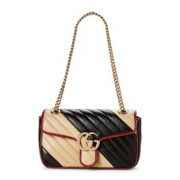 Gucci 拼色 GG Marmont Small Leather 链条包