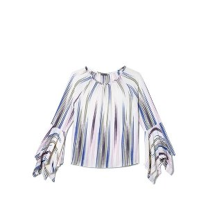 Vince CamutoPainterly-striped Bell-sleeve Blouse 女士上衣