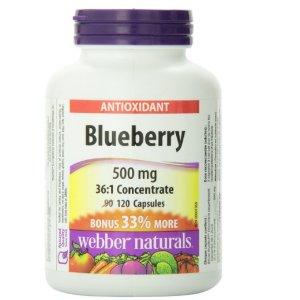 $10.44(原价$19.85)Webber Naturals Blueberry 36:1 天然蓝莓浓缩护眼胶囊