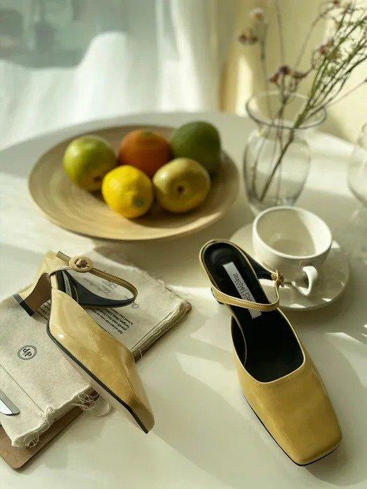 Fleur 复古方头穆勒鞋