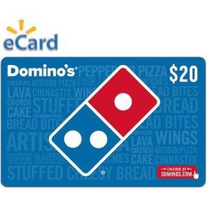 $18 给你的披萨再打9折Domino's Pizza 价值$20电子礼卡