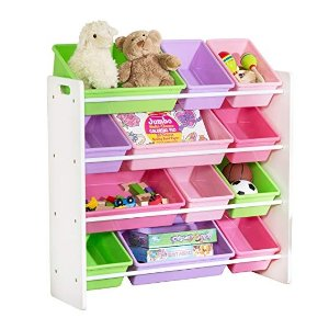 Honey-Can-DoSRT-01603 Kids Toy Organizer and Storage Bins, White/Pastel