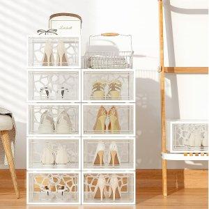 Pinkpum 加高设计透明鞋盒 12个 可堆叠展示