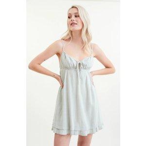 LA HeartsLinen Tie Front Babydoll Dress