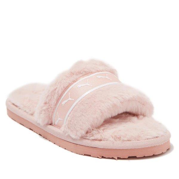 粉色毛毛拖鞋 大童