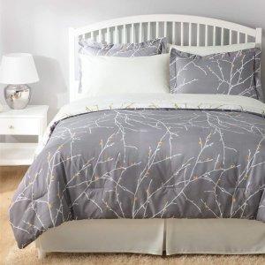 $79.99(原价$87.99)Bedsure 双面两风格 时尚树枝印花 King 仿羽绒被8件套
