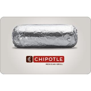 现价$20(原价$25)Chipotle $25电子礼卡限时优惠